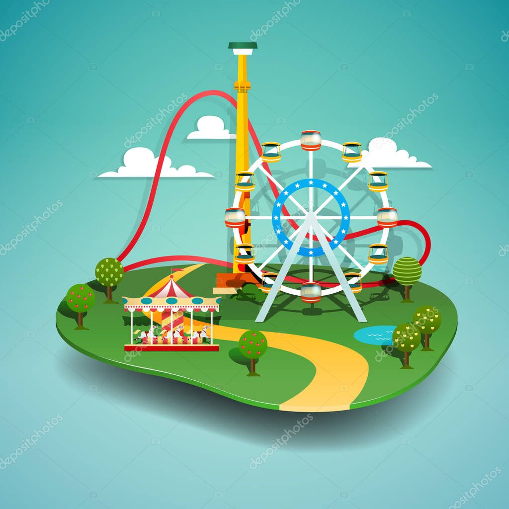 Vector illustration of amusement park. Paper cut style.