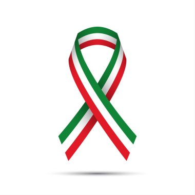 Modern colored ribbon with the Italian tricolor on white background