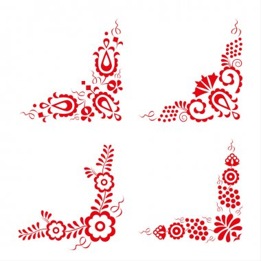 Set of four traditional folk ornaments
