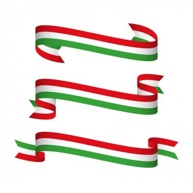 Set of three modern ribbons with the Italian tricolor