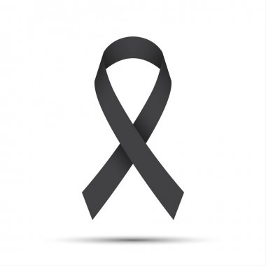 Simple grey ribbon icon, vector illustration