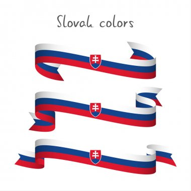 Set of three modern colored vector ribbon with the Slovak tricolor