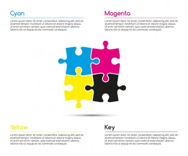 Minimalistic infographic template with four puzzle pieces in  cmyk colors for your business project, vector illustration clip art vector