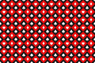 Seamless abstract vector poker background with playing cards signs, white symbols squares on red and black squares, casino symbols