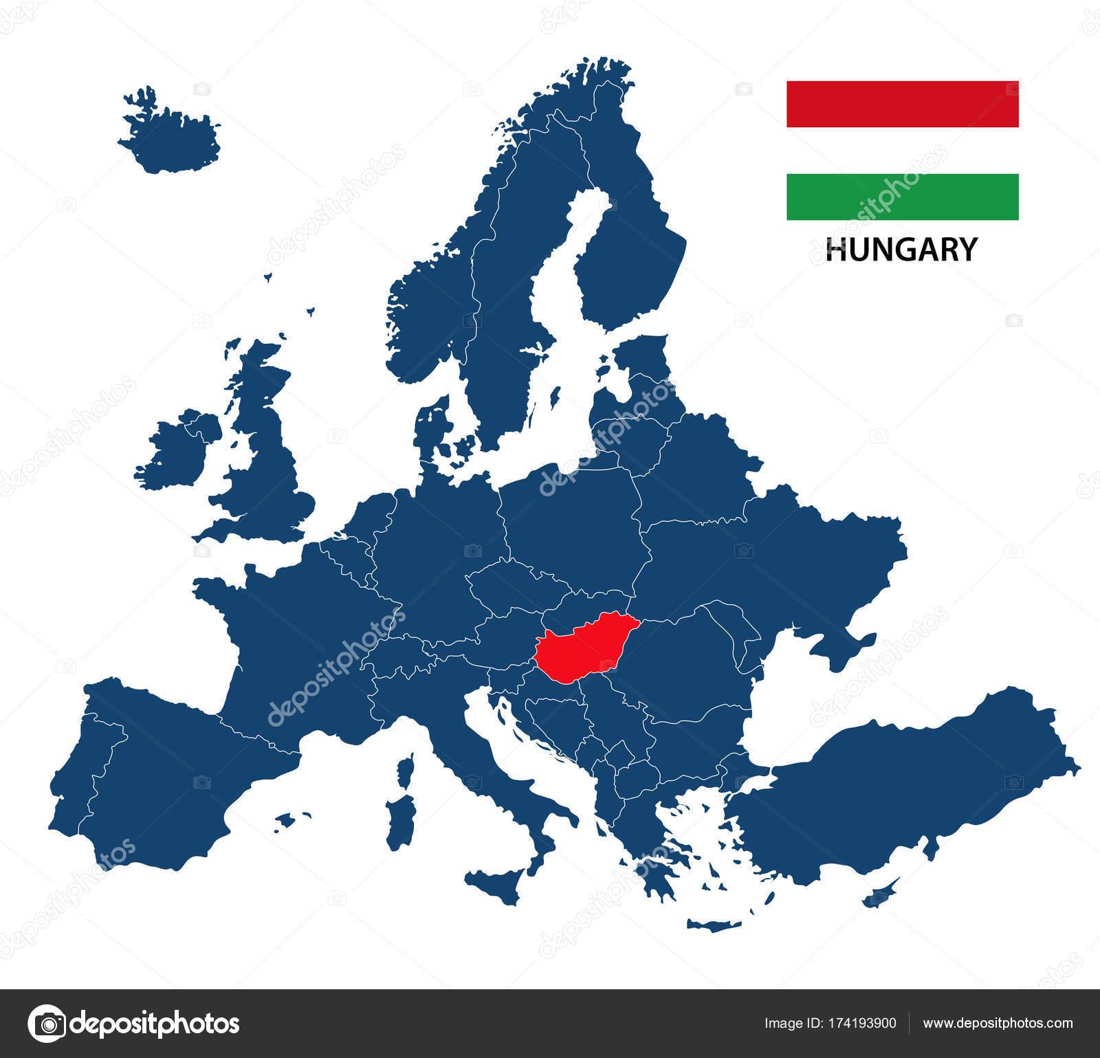 magyarország európa térkép Vektoros illusztráció a Térkép Európa Kiemelt Magyarország és a  magyarország európa térkép