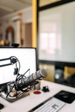 Recording studio. close up of studio microphone
