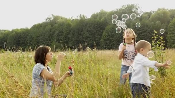 Šťastná rodina hraje v přírodě. Máma a děti jsou vyfukování bublin. Dívka a chlapec hraje s její matkou. Kempování s rodinou. Glade poblíž lesa. Svítí slunce a prší
