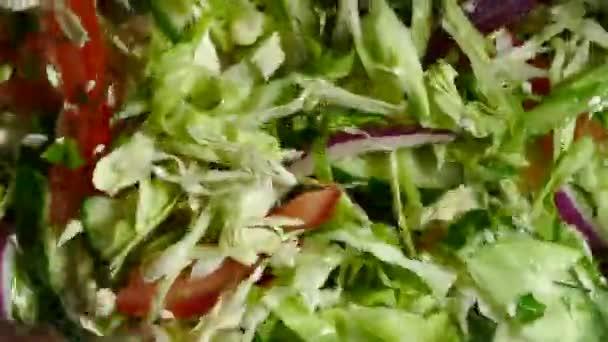 Insalata di verdure è mescolato su una piastra. Primo piano di verdure tritate finemente. Cibo sano vegetariano