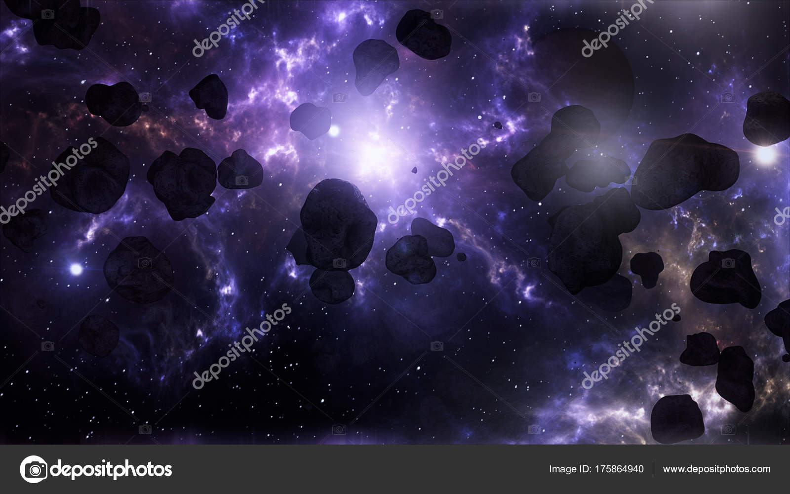 306ac5aae38c A Very Spectacular and Cinematic Asteroid Field in Outer Space G– stock  image
