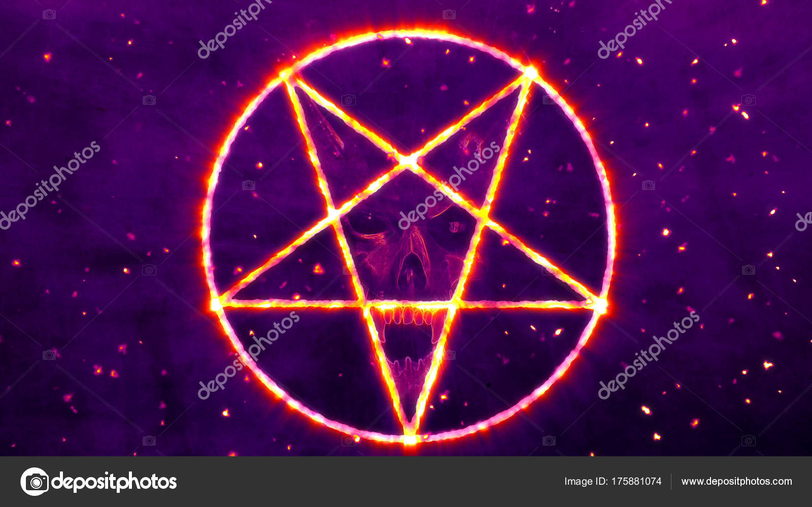 Inverted Pentagram Symbol With The Face Of The Evil Stock Photo