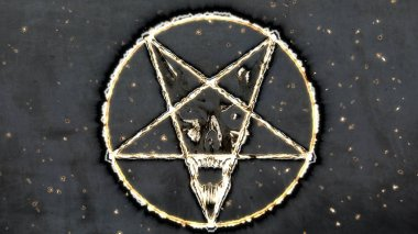 Inverted Pentagram Symbol with the Face of the Evil