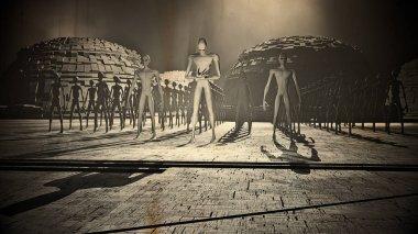Alien Army Reveal behind Space Station Gate Vintage