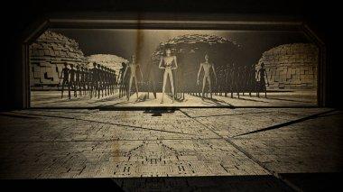 Aliens Reveal behind Space Station Gate Vintage