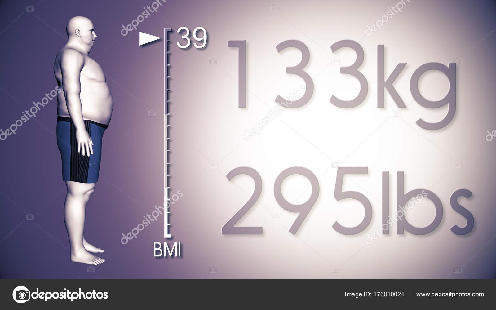 3D ilustración de un hombre obeso, perder peso corporal y el IMC ...