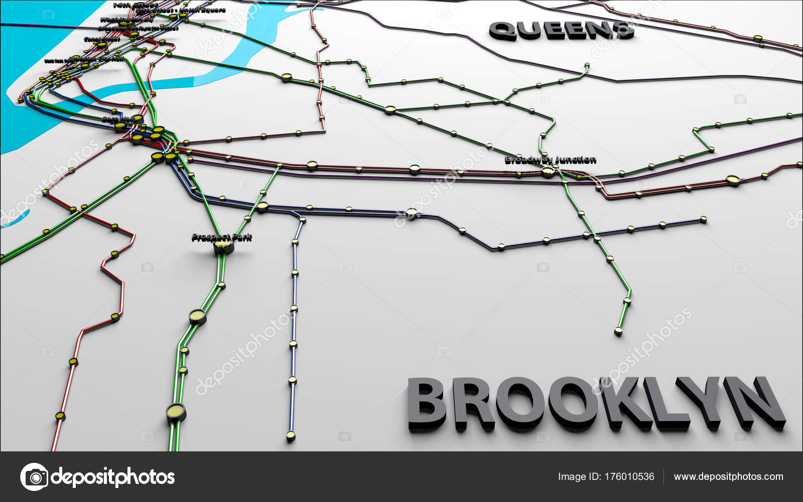 Subway lines and stations of new york city subways brooklyn quee subway lines and stations of new york city subways brooklyn queens 3d illustrationthis is not the official nyc subway map photo by boscorelli biocorpaavc Gallery