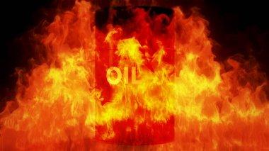 Oil Barrel in Raging Fire Oil Price Crisis Concept