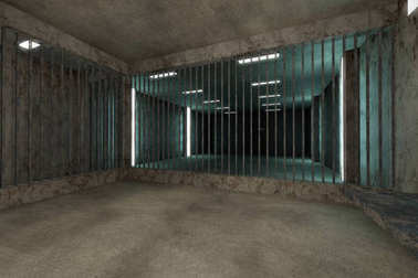 Old Worn Out Dwelled Private Prison Cell Scene