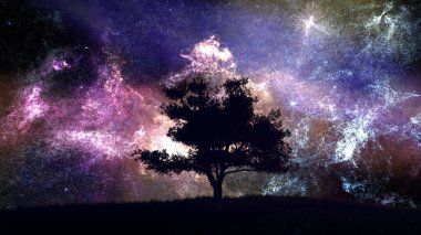 Lonely Tree under Amazing Nebula Night Sky