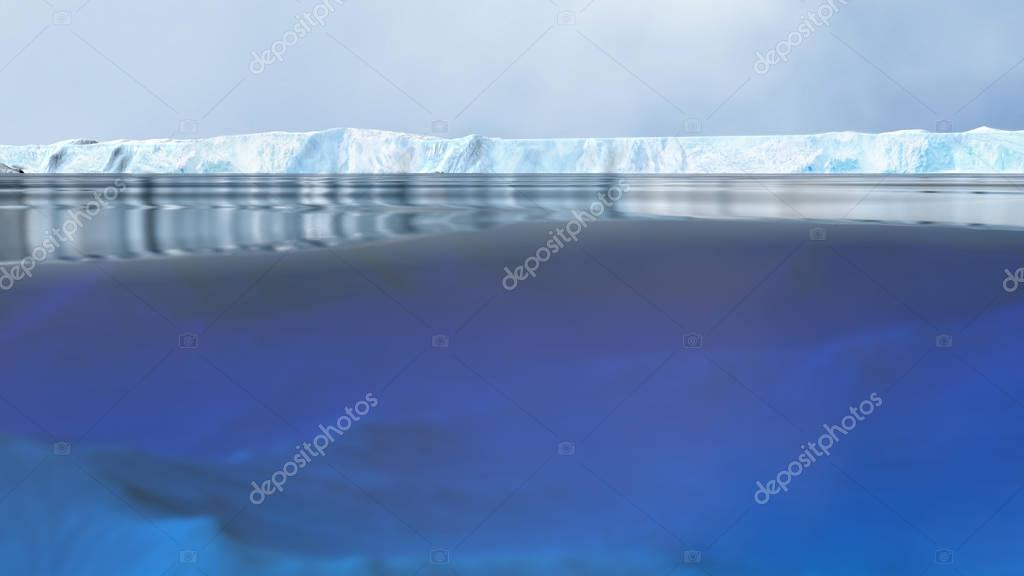 Arctic Landscape with Camera Half Underwater