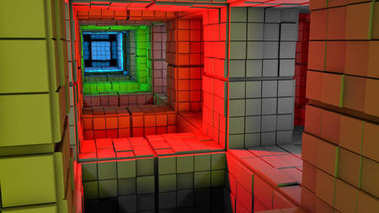 Science fiction, colorful cube maze