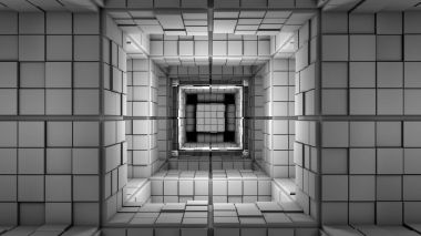 Science fiction, grey cube maze