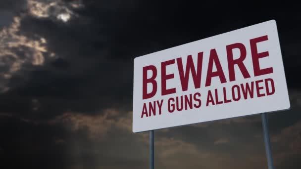 4K Pozor na všechny povolené zbraně Varovné znaménko v rámci časového limitu oblačnosti