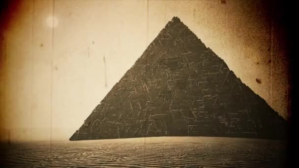 4K Enigmatic Alien Pyramid in a Desert 3D Animation Vintage