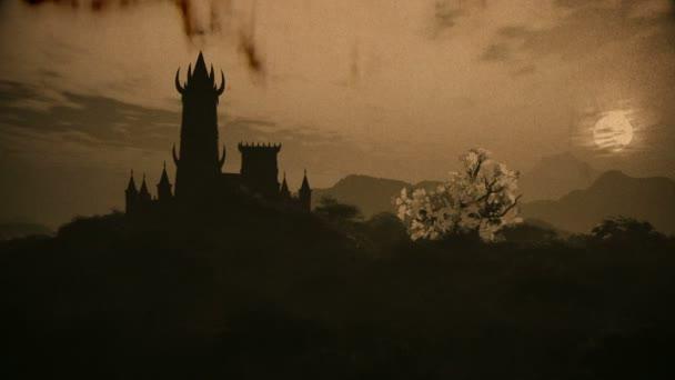 Fantasy-Schloss auf einem Hügel in einem sagenumwobenen Mystery Land 3D Animation Vintage