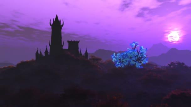 Hrad fantazie na kopci ve fantastické záhadné krajině 3D animace