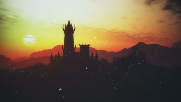 Kísérteties Fantasy Castle Sunset tűzlegyek egy titokzatos föld 3D-s animáció