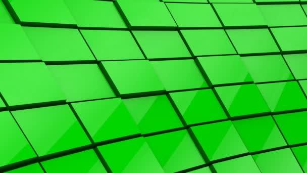 Minimalistická reflexní zelená krychlová bloková zeď 3D animace pozadí