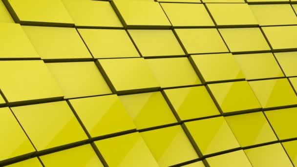 Minimalistický reflexní žlutá krychlové bloky zeď 3D pozadí animace