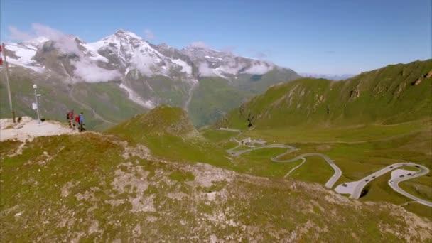 Austrian flag on the top of Grossglockner alpine road
