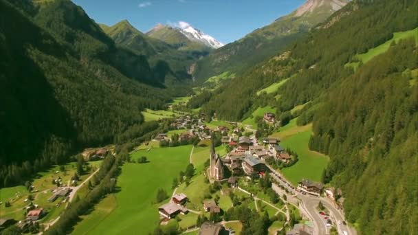 Village of Heiligenblut in the Alps from air
