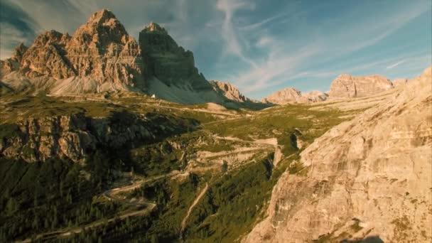 Evening aerial view of Dolomites in the Alps