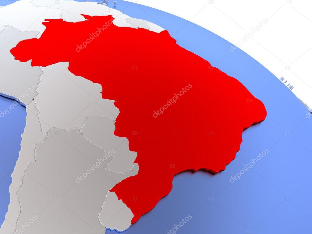 Brazil on world map — Stock Photo © tom.griger #126423000
