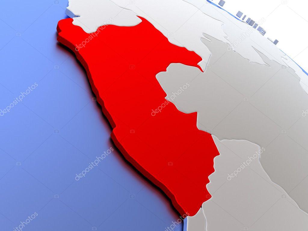 Peru on world map — Stock Photo © tom.griger #126423734