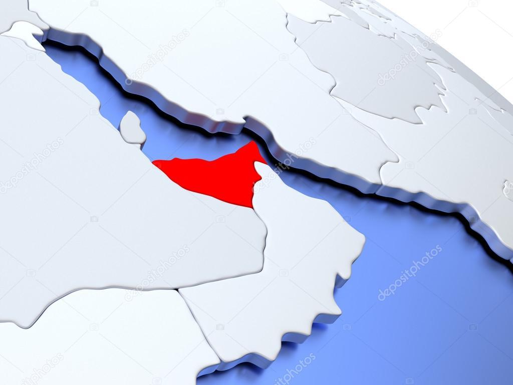 United Arab Emirates on world map — Stock Photo © tom.griger #126437206