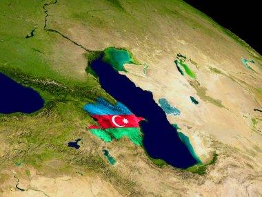 Azerbaijan with flag on Earth