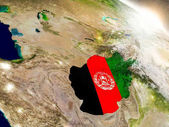 Afghanistan with flag in rising sun