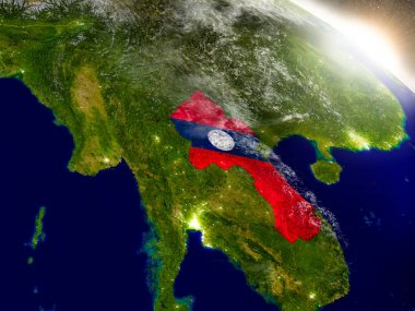 Laos with flag in rising sun