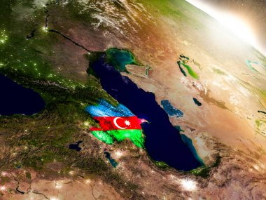Azerbaijan with flag in rising sun