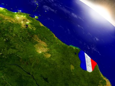 French Guiana with flag in rising sun
