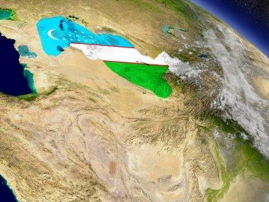 Uzbekistan with embedded flag on Earth