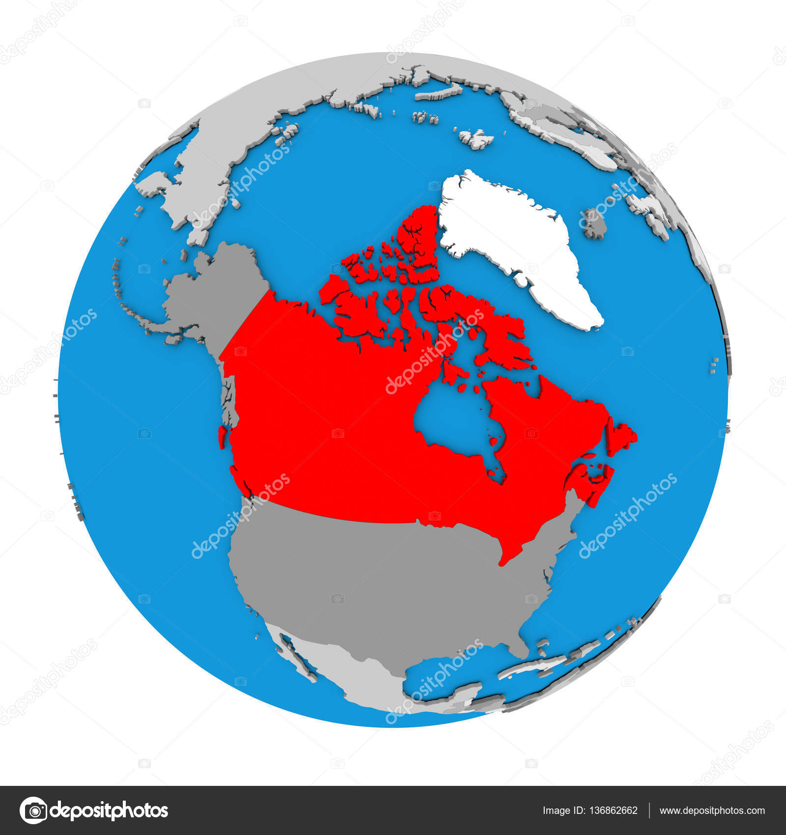 Canada on globe stock photo tomiger 136862662 map of canada highlighted in red on globe 3d illustration isolated on white background photo by tomiger gumiabroncs Image collections