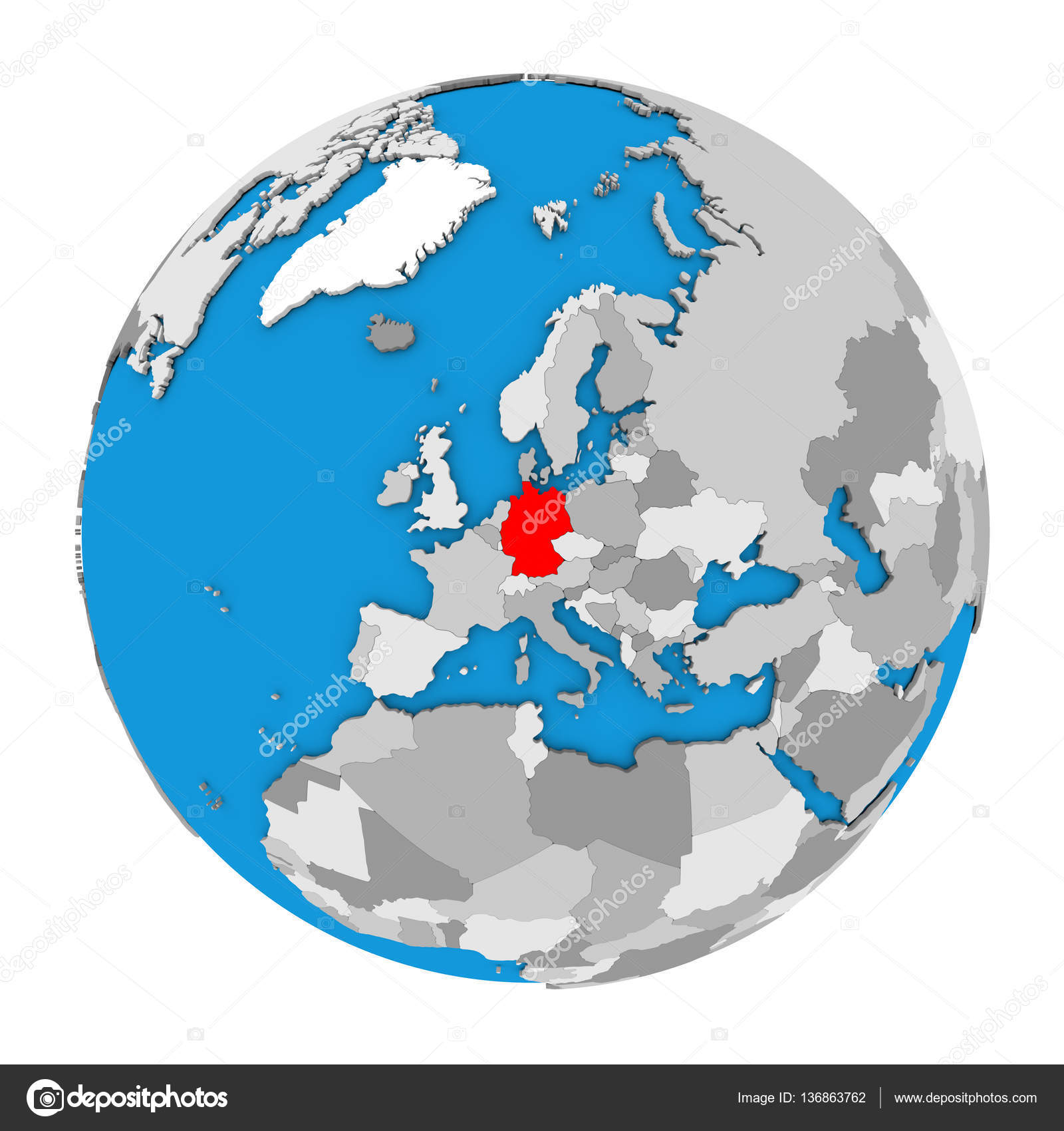 Germany on globe stock photo tomiger 136863762 map of germany highlighted in red on globe 3d illustration isolated on white background photo by tomiger gumiabroncs Choice Image