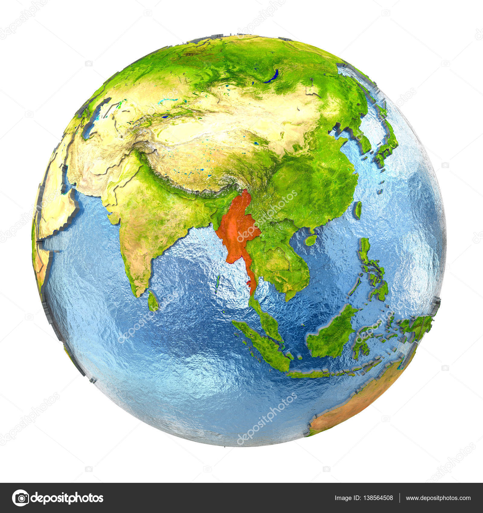 Full Earth Map.Myanmar In Red On Full Earth Stock Photo C Tom Griger 138564508