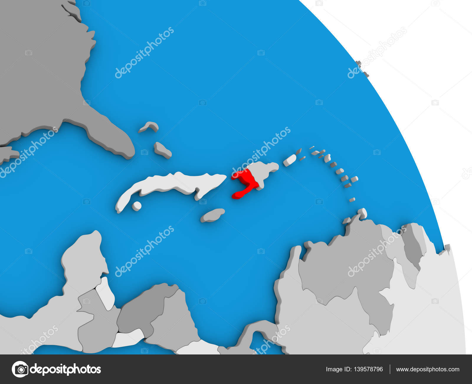 Haiti on globe stock photo tomiger 139578796 haiti highlighted in red on simple globe with visible country borders 3d illustration photo by tomiger gumiabroncs Images