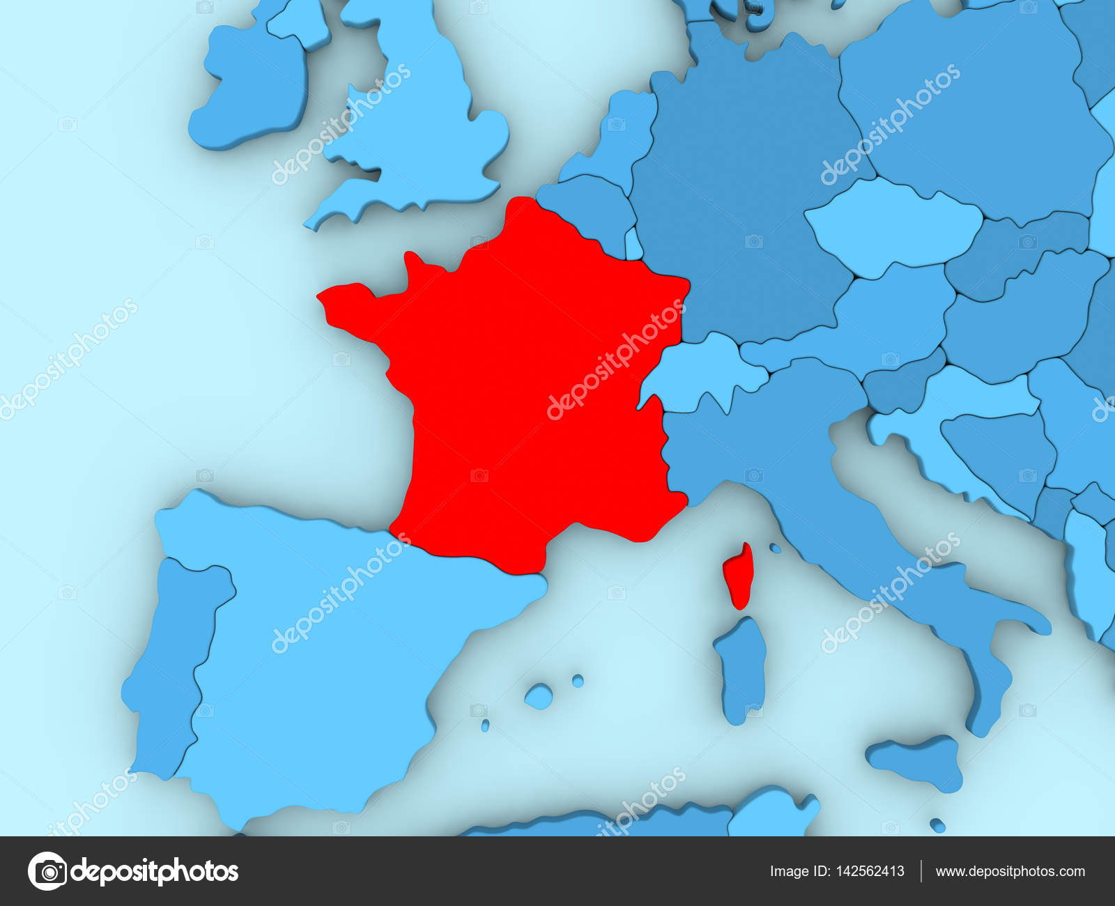 France on 3d map stock photo tomiger 142562413 country of france highlighted in red on blue map 3d illustration photo by tomiger gumiabroncs Images