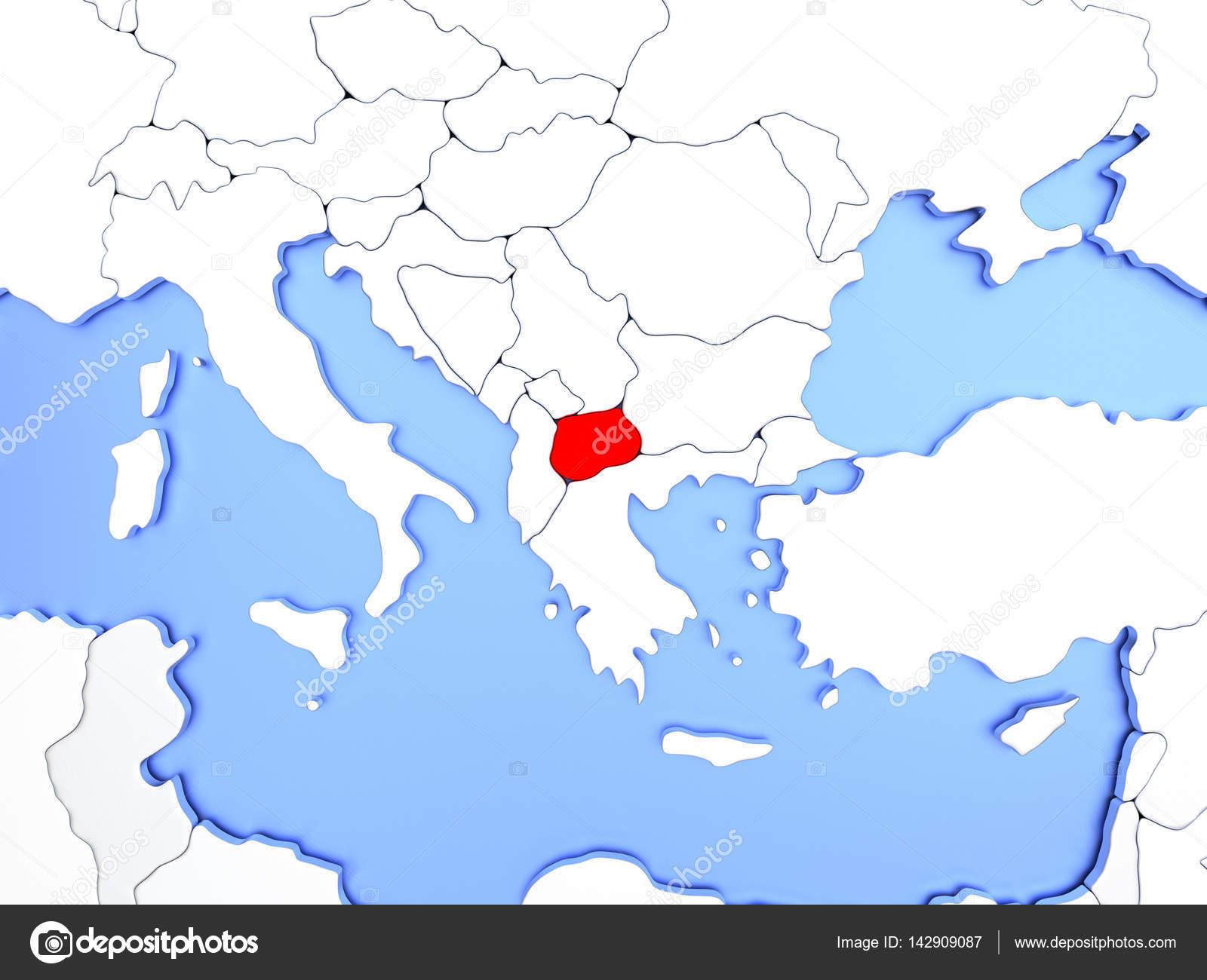 Mazedonien Karte.Mazedonien In Rot Auf Der Karte Stockfoto Tom Griger 142909087